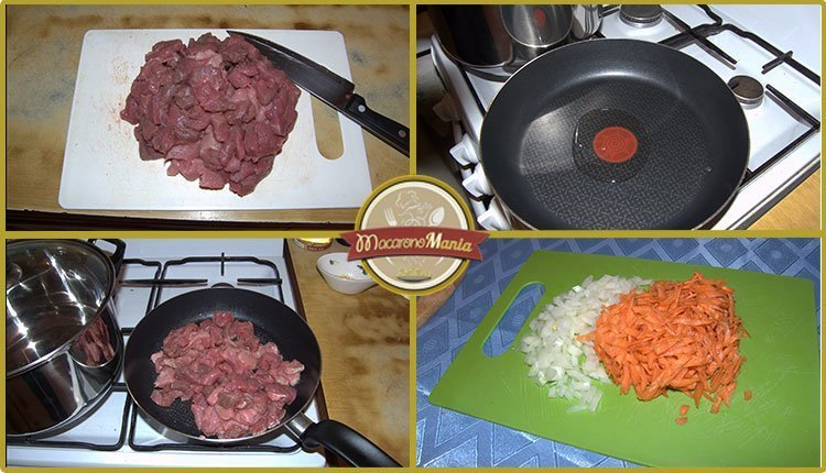Макароны с говядиной запеченные в сливочном соусе. Приготовление. Шаг 1