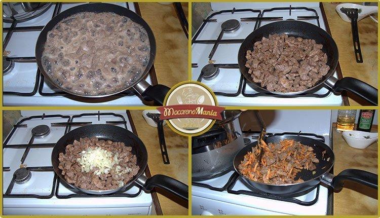 Макароны с говядиной запеченные в сливочном соусе. Приготовление. Шаг 2