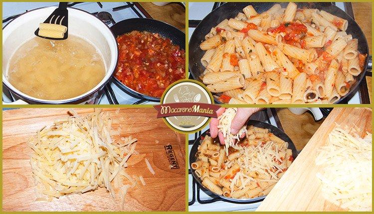 тортильони с неаполитанским соусом и пармезаном. Приготовление. Шаг 3