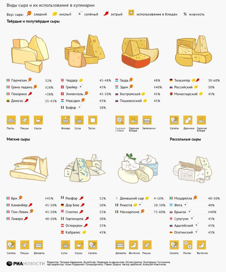 Виды сыров. Их использование, хранение, сорта и вкус. Сырная инфографика
