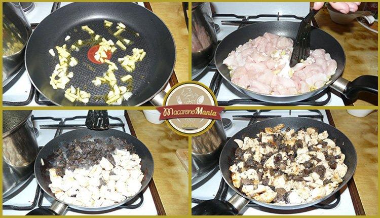 Лапша удон с курицей, грибами и устричным соусом. Приготовление. Шаг 2