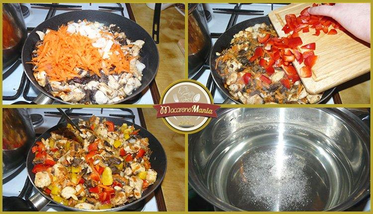 Лапша удон с курицей, грибами и устричным соусом. Приготовление. Шаг 3