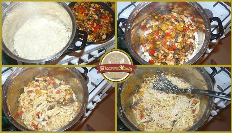 Лапша удон с курицей, грибами и устричным соусом. Приготовление. Шаг 5