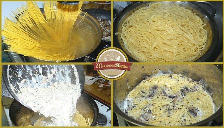 Спагетти с шампиньонами в сливочном соусе. Приготовление. Шаг 4