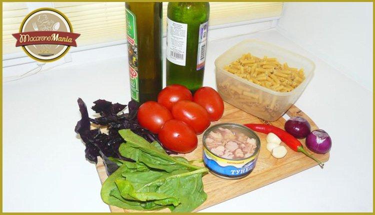 Паста с тунцом, помидорами и шпинатом. Ингредиенты