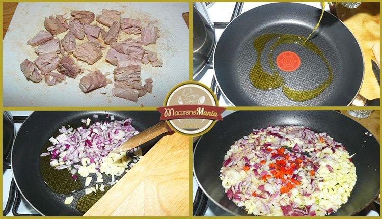 Паста с тунцом, помидорами и шпинатом. Приготовление. Шаг 3
