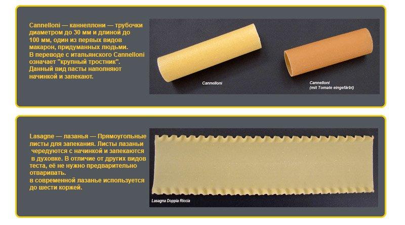 Виды макаронных изделий. Макароны для запекания