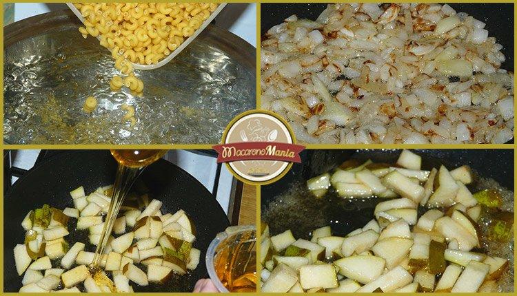 Макароны (паста) с беконом, грушей и соусом бешамель. Шаг-3