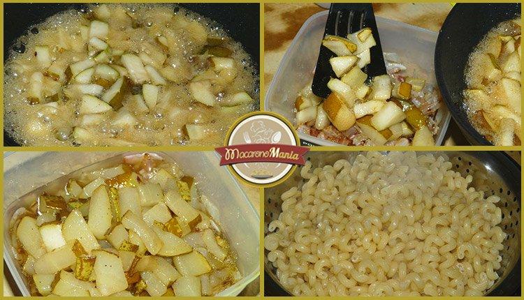 Макароны (паста) с беконом, грушей и соусом бешамель. Шаг-4