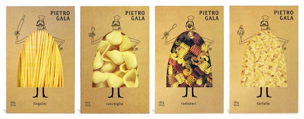 Необычный дизайн упаковки для пасты (макарон)  марки «Pietro Gala» 1-4