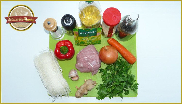 Фунчоза с овощами и мясом в соусе терияки. Ингредиенты