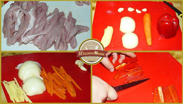 Фунчоза с овощами и мясом в соусе терияки. Шаг 1