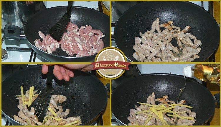 Фунчоза с овощами и мясом в соусе терияки. Шаг 2