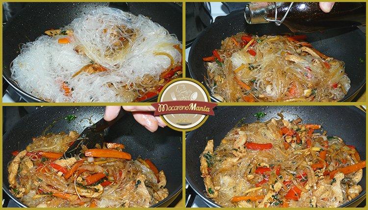 Фунчоза с овощами и мясом в соусе терияки. Шаг 5-1