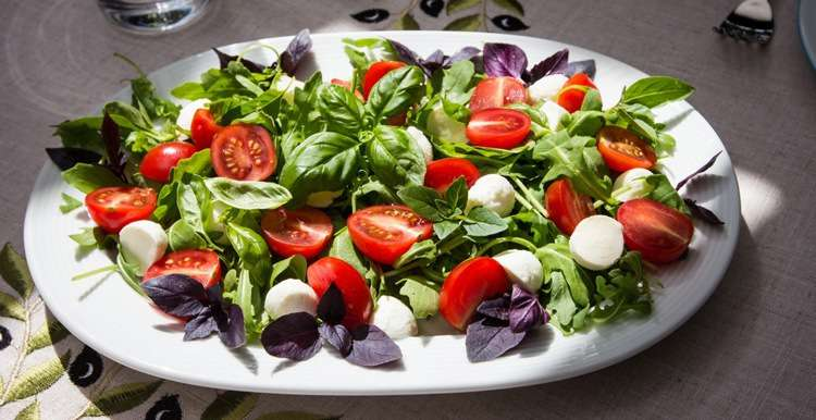 Cалат с рукколой и моцареллой. Mozzarella salad rukola