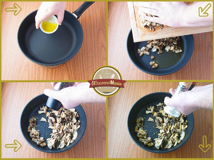 Макароны с белыми грибами, шампиньонами и сыром. Приготовление. Шаг 1
