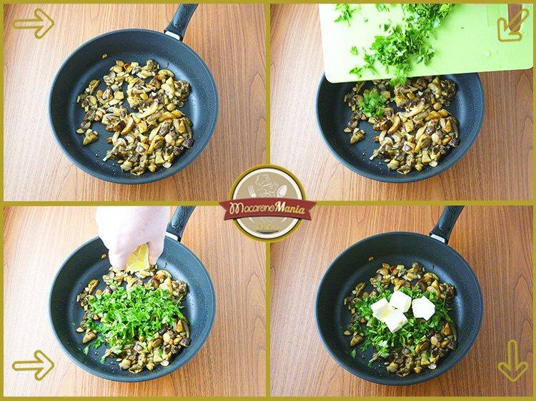 Макароны с белыми грибами, шампиньонами и сыром. Приготовление. Шаг 3