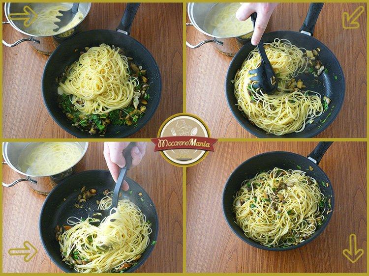 Макароны с белыми грибами, шампиньонами и сыром. Приготовление. Шаг 4-2