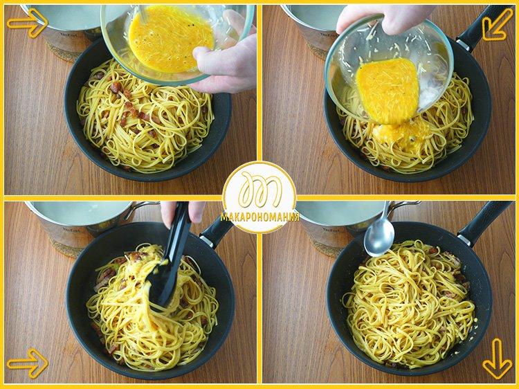Классическая паста карбонара. Рецепт с фото. Приготовление. Шаг 9. Добавляем соус в макароны