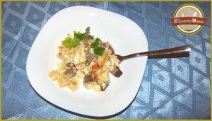 Макароны с говядиной запеченные в сливочном соусе. Готовое блюдо