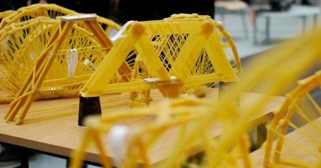 Мосты из макарон. Соревнования по строительству. 1