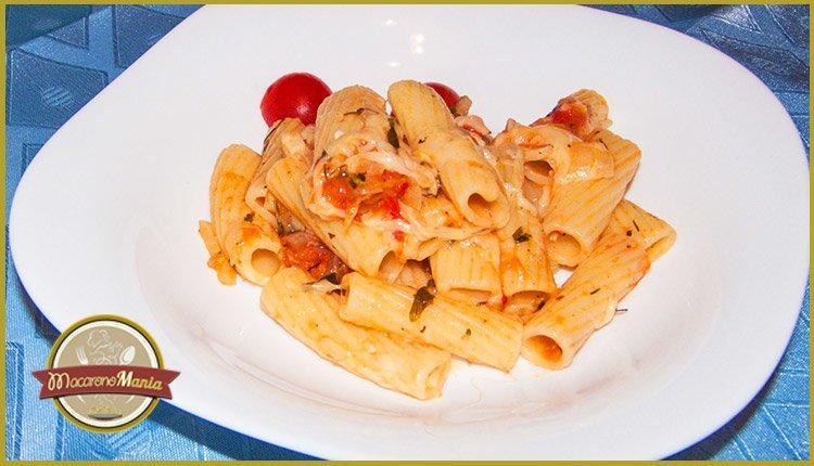 тортильони с неаполитанским соусом и пармезаном. Готовое блюдо