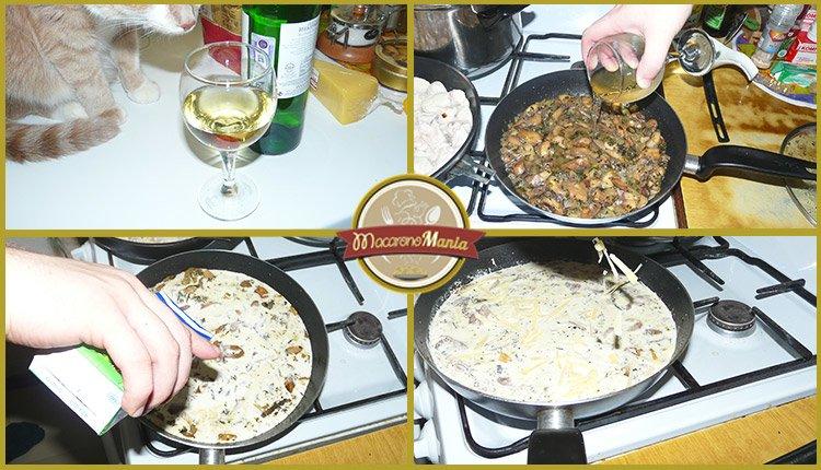 Макароны с курицей и грибами, вином и травами. Приготовление. Шаг 4