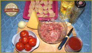 Конкильони с фаршем в томатном соусе. Ингредиенты