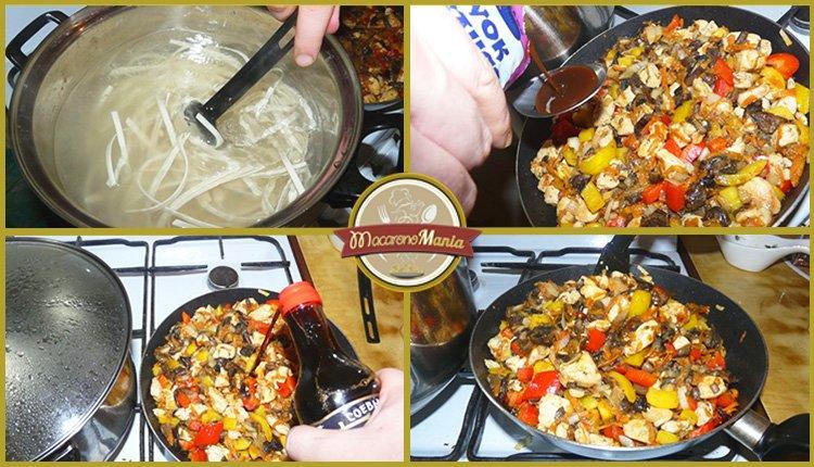 Лапша удон с курицей, грибами и устричным соусом. Приготовление. Шаг 4