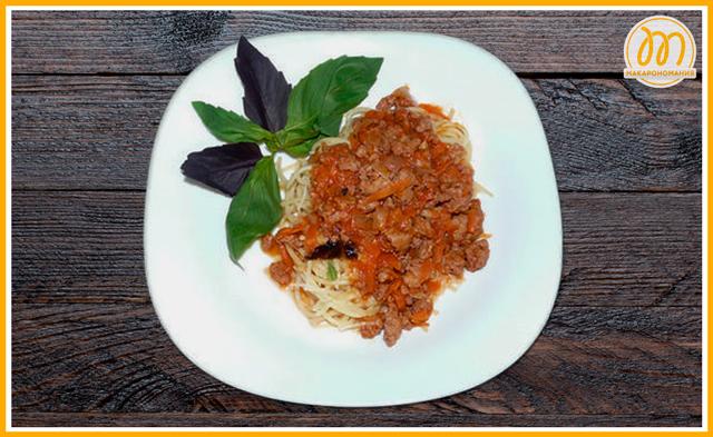 Спагетти болоньезе. Готовое блюдо. Фото.