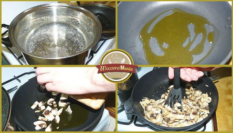 Спагетти с шампиньонами в сливочном соусе. Приготовление. Шаг 1