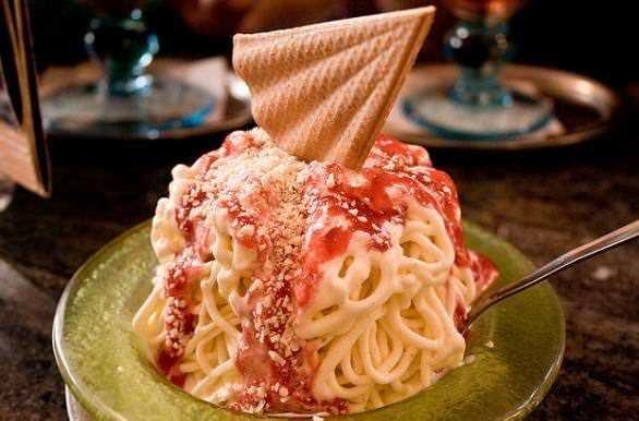 Spaghetti Ice Cream. Айс спагетти - мороженное спагетти 7
