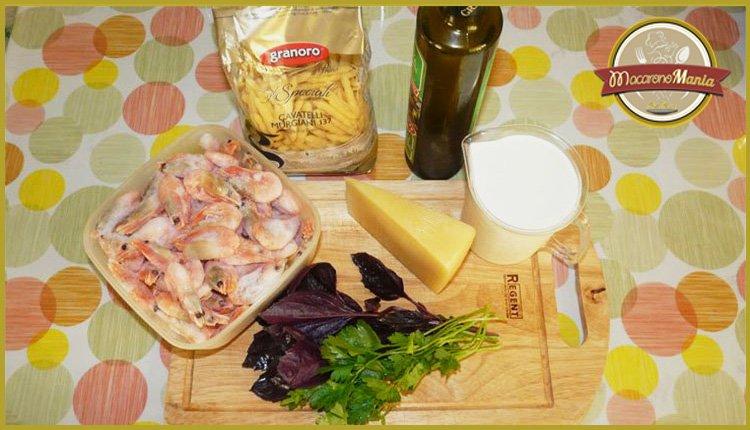 Паста с креветками в сливочном соусе альфредо. Ингредиенты