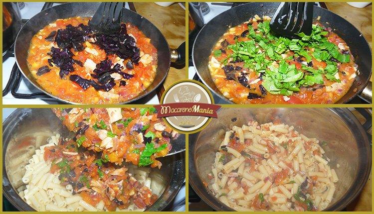 Паста с тунцом, помидорами и шпинатом. Приготовление. Шаг 6