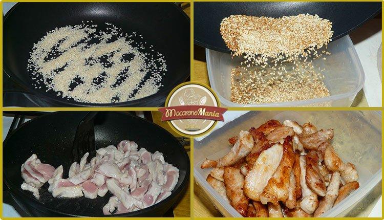 Рисовая лапша со свининой и овощами с соусом терияки. Приготовление. Шаг 3