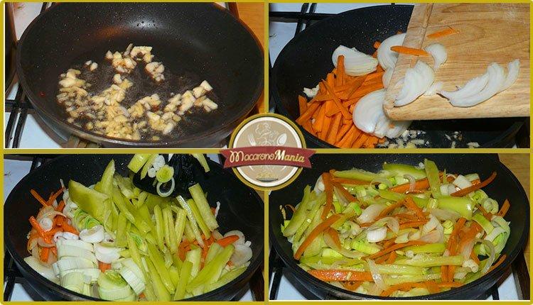 Рисовая лапша со свининой и овощами с соусом терияки. Приготовление. Шаг 4