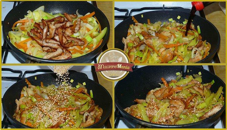 Рисовая лапша со свининой и овощами с соусом терияки. Приготовление. Шаг 5