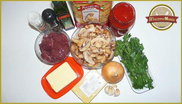 Ингредиенты, чтобы приготовить куриную печень с макаронами