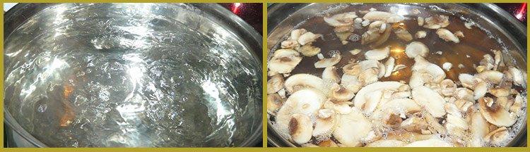 Приготовление рецепта - макароны с печенью. Шаг 1. Доводим воду до кипения и оставляем в ней шампиньоны на час.