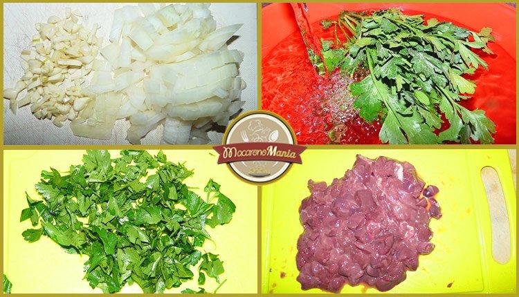 Приготовление рецепта - макароны с печенью. Шаг 2. Нарезаем лук, чеснок, зелень и куриную печень