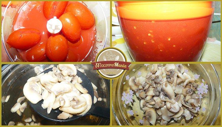Приготовление рецепта - макароны с печенью. Шаг 3. Помидоры перемешиваем в блендере. Достаем грибы из бульона.