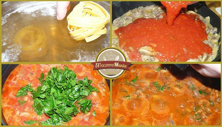 Приготовление рецепта - макароны с печенью. Шаг 5. Варим макароны. В куриную печень вливаем томатный соус и добавляем зелень