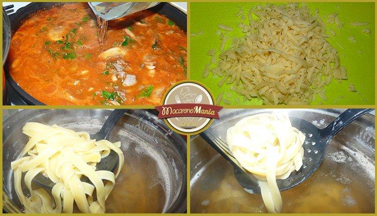 Приготовление рецепта - макароны с печенью. Шаг 6. Вливаем томатный соус грибной бульон. Натираем сыр. Вылавливаем макароны