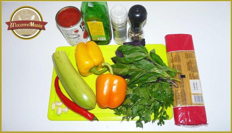 Паста с кабачком (цукини) в томатном соусе от Энрико Карузо. Ингредиенты