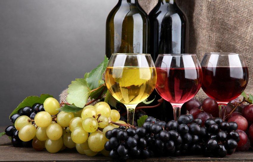 Виды и типы вина в картине-схеме.