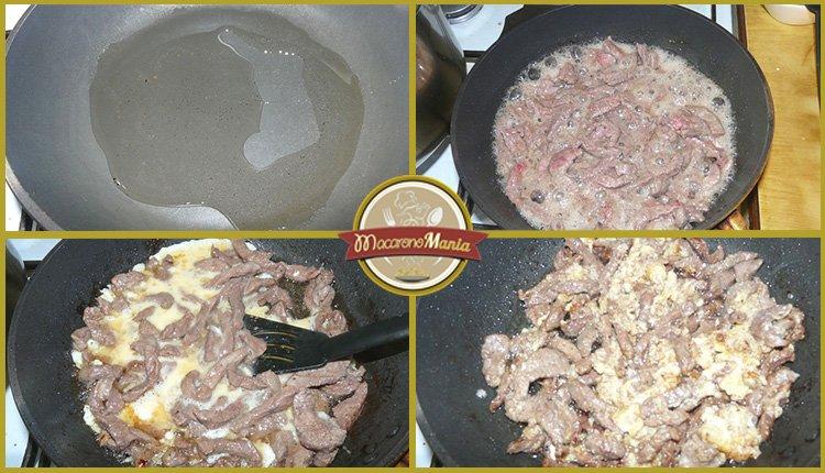 Лапша удон с говядиной. Приготовление. Шаг 3. Жарим говядину на сковороде и добавляем панировку