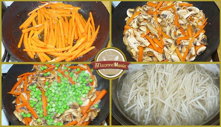 Лапша удон с говядиной. Приготовление. Шаг 5. Жарим морковь, грибы, горошек. Варим лапшу удон.