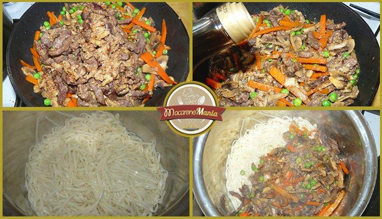 Лапша удон с говядиной. Приготовление. Шаг 6. Собираем блюдо в сковороду.
