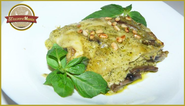 Лазанья с грибами под соусом песто и бешамель. Готовое блюдо