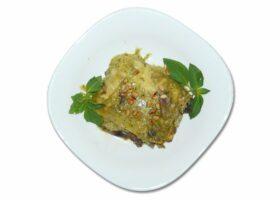 Лазанья с грибами. Рецепт с сыром, бешамель и песто в духовке